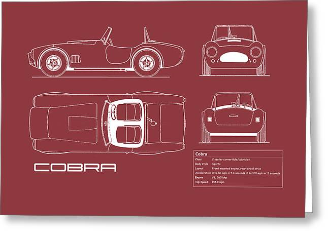 Ac Cobra Blueprint - Red Greeting Card by Mark Rogan