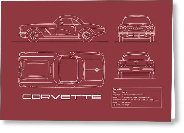 Corvette C1 Blueprint - Red Greeting Card