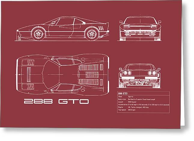 Ferrari 288 Gto Blueprint - Red Greeting Card by Mark Rogan