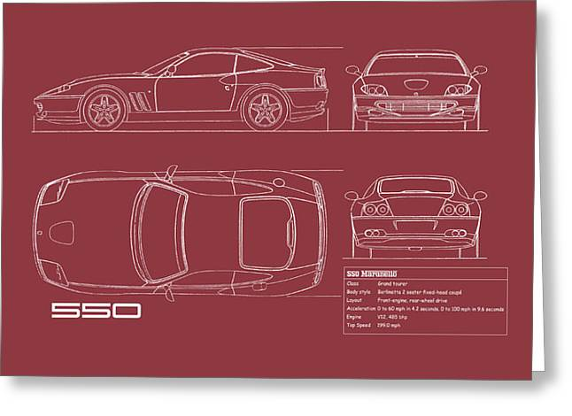 Ferrari 550 Blueprint - Red Greeting Card