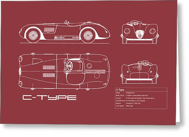 Jaguar C-type Blueprint - Red Greeting Card by Mark Rogan