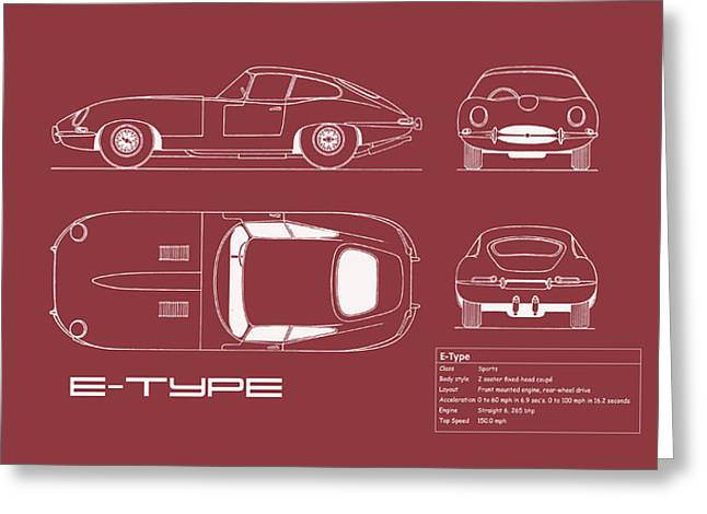 Jaguar E Type Blueprint - Red Greeting Card by Mark Rogan