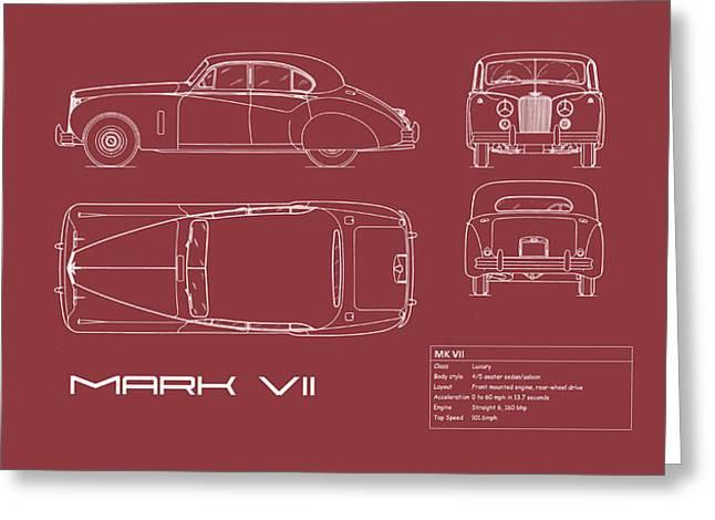 Jaguar Mk Vii Blueprint - Red Greeting Card by Mark Rogan