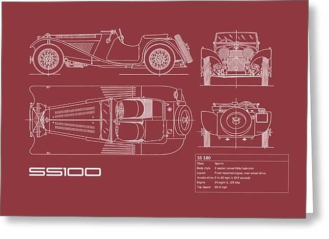 Jaguar Ss 100 Blueprint - Red Greeting Card