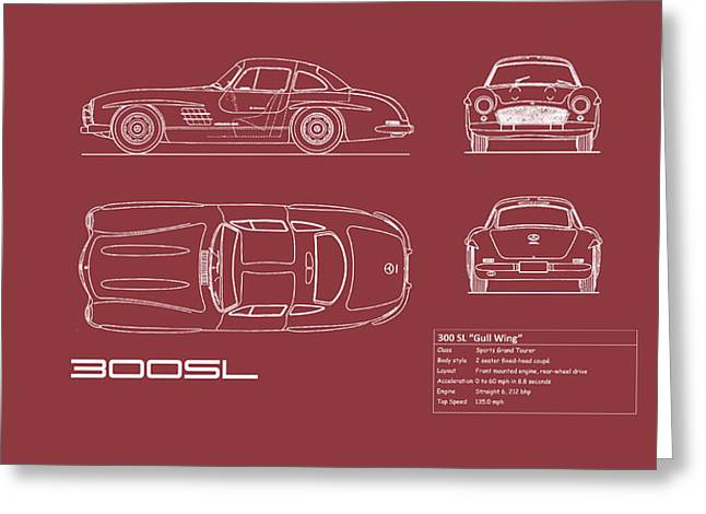 Mercedes 300 Sl Blueprint - Red Greeting Card