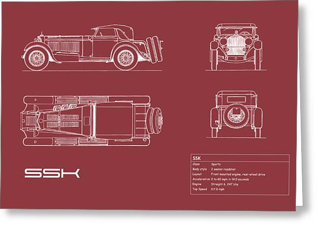 Mercedes Ssk Blueprint - Red Greeting Card by Mark Rogan