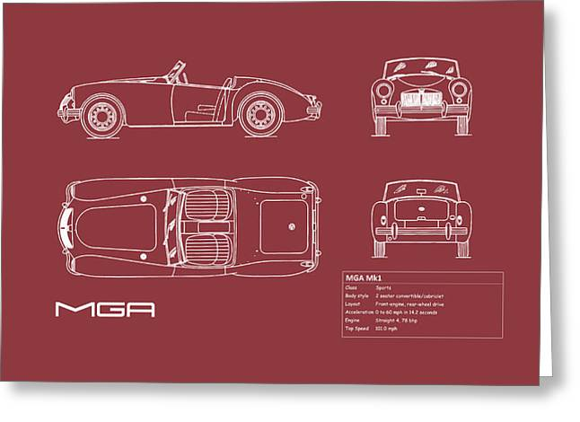 Mga Mk1 Blueprint - Red Greeting Card