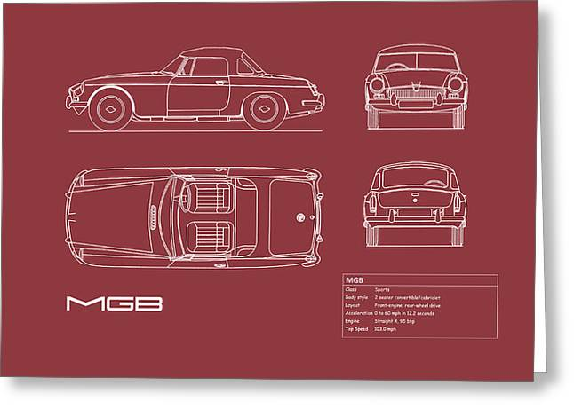 Mgb Blueprint - Red Greeting Card