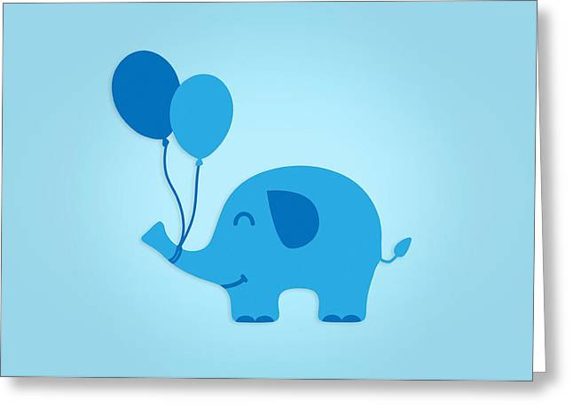 Sweet Funny Baby Elephant With Balloons Greeting Card