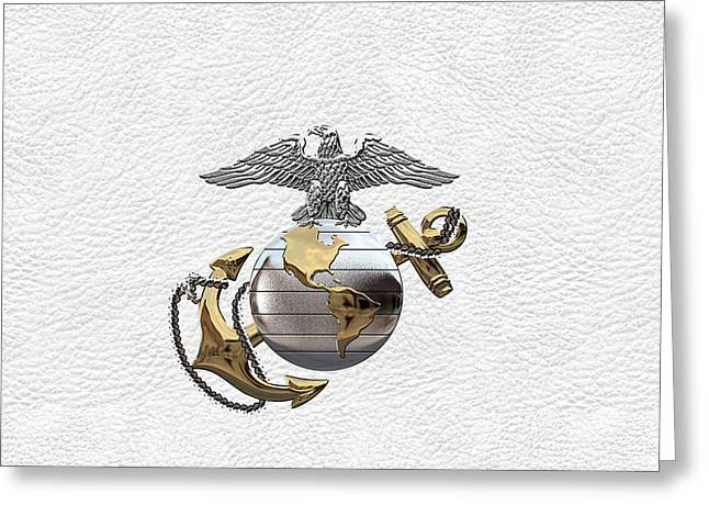 U S M C Eagle Globe And Anchor - C O And Warrant Officer E G A Over White Leather Greeting Card
