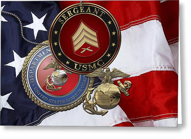 U. S. Marines Sergeant - U S M C Sgt Rank Insignia Over American Flag Greeting Card by Serge Averbukh