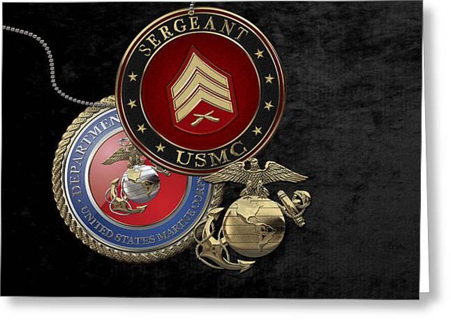 U. S. Marines Sergeant -  U S M C  Sgt Rank Insignia Over Black Velvet Greeting Card by Serge Averbukh