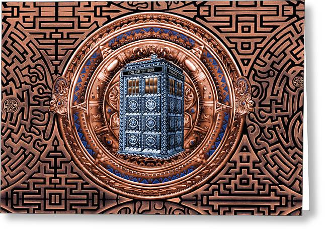 Aztec Time Travel Pendant Medallion Greeting Card by Lugu Poerawidjaja