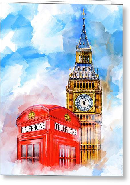 Greeting Card featuring the mixed media London Dreaming by Mark E Tisdale