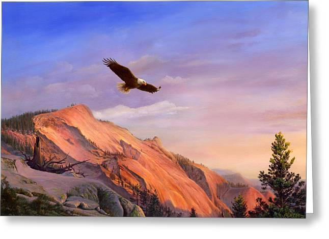 Flying American Bald Eagle Mountain Landscape Painting - American West - Western Decor - Bird Art Greeting Card by Walt Curlee