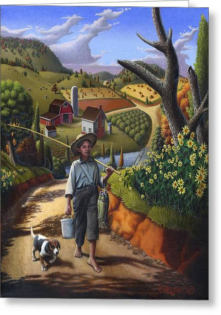 Boy And Dog Farm Landscape - Flashback - Childhood Memories - Americana - Painting - Walt Curlee Greeting Card by Walt Curlee