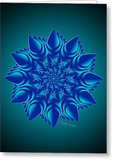 Fractal Flower In Blue Greeting Card