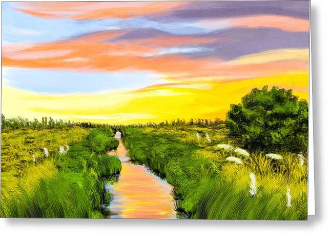 Salt Marshes At Dawn - Savannah Coast Greeting Card by Mark E Tisdale
