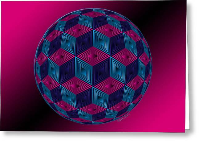Spherized Pink Purple Blue And Black Hexa Greeting Card