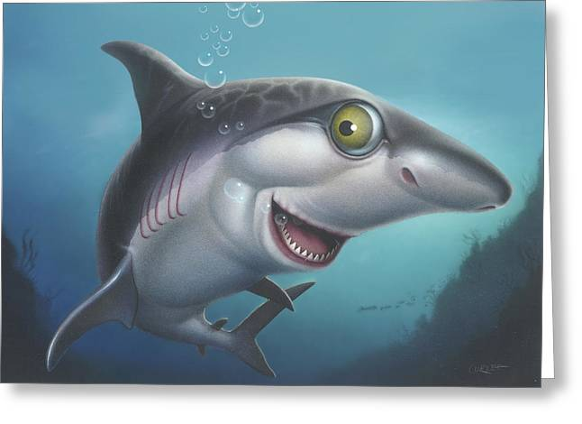 friendly Shark Cartoony cartoon under sea ocean underwater scene art print blue grey  Greeting Card by Walt Curlee