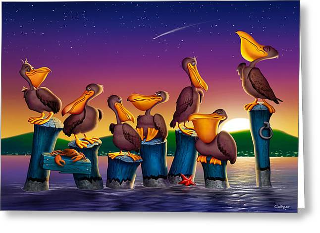 Pelican Sunset Whimsical Cartoon Tropical Birds Seascape Print Blue Orange Purple Yellow Greeting Card by Walt Curlee