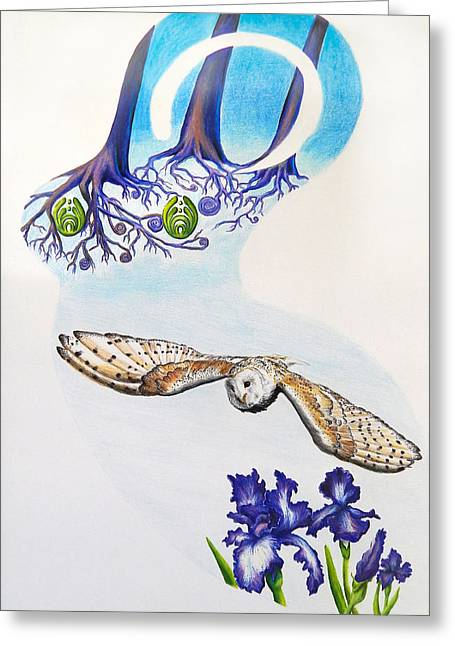 Goddess Wise In Flight Greeting Card by Julia Cahill