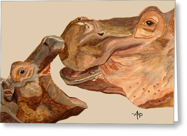 Hippos Greeting Card by Angeles M Pomata