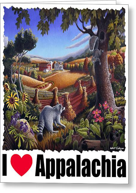 I Love Appalachia - Coon Gap Holler Country Farm Landscape 1 Greeting Card by Walt Curlee
