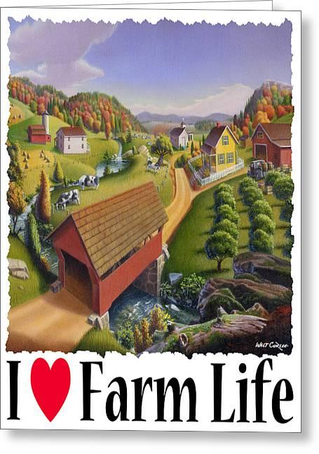 I Love Farm - Appalachian Covered Bridge - Rural Farm Landscape Greeting Card