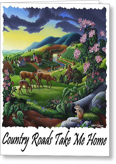 Country Roads Take Me Home - Deer Chipmunk In High Meadow Appalachian Country Landscape Greeting Card