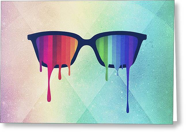 Love Wins Rainbow - Spectrum Pride Hipster Nerd Glasses Greeting Card by Philipp Rietz