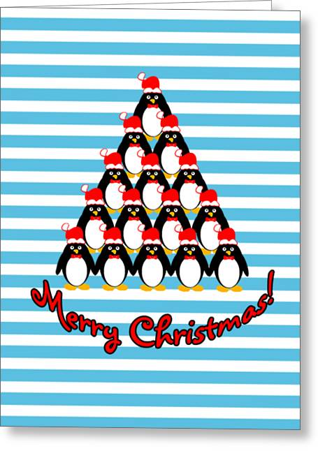Penguin Christmas Tree N Stripes Greeting Card by Methune Hively