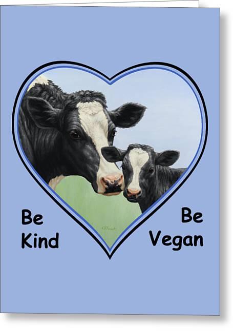 Holstein Cow And Calf Blue Heart Vegan Greeting Card