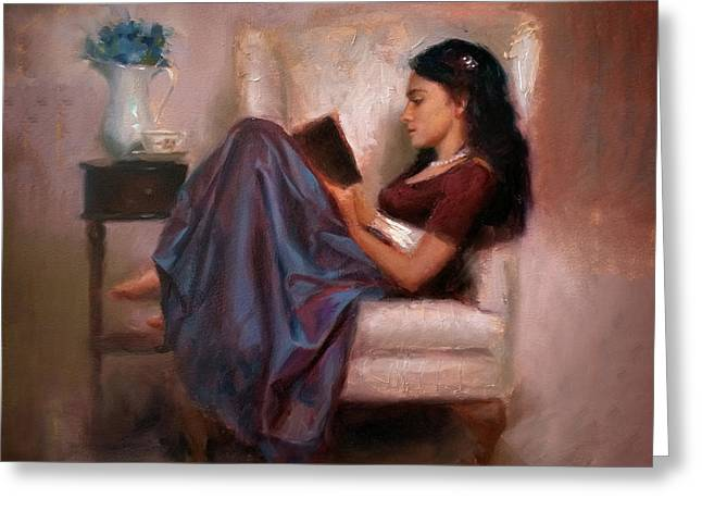 Jaidyn Reading A Book 2 - Portrait Of Woman Greeting Card