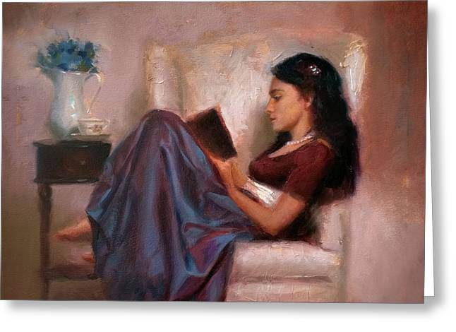 Jaidyn Reading A Book 2 - Portrait Of Woman Greeting Card by Karen Whitworth