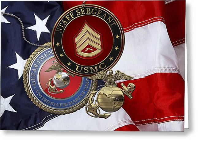 U. S. Marines Staff Sergeant Rank Insignia Over American Flag Greeting Card by Serge Averbukh