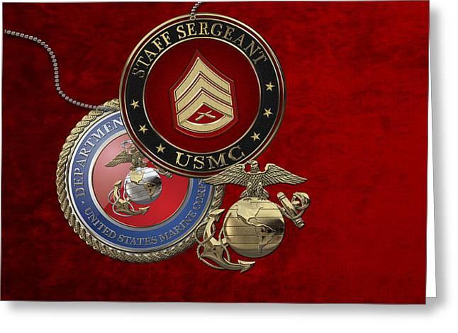 U. S. Marines Staff Sergeant Rank Insignia Over Red Velvet Greeting Card by Serge Averbukh