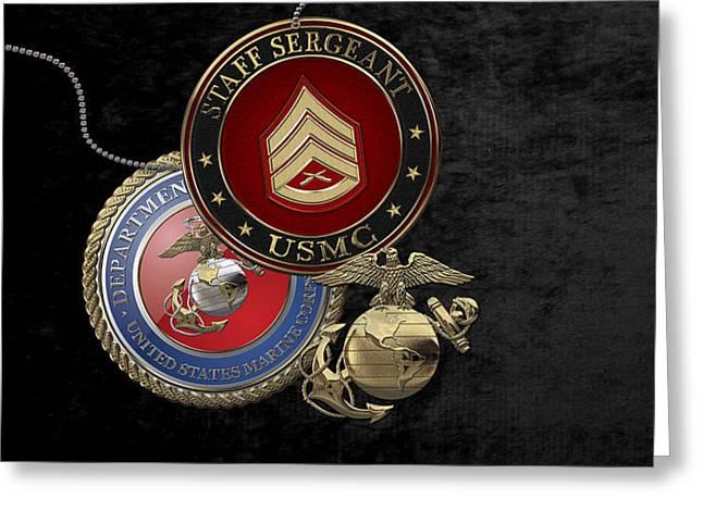 U. S. Marines Staff Sergeant Rank Insignia Over Black Velvet Greeting Card by Serge Averbukh