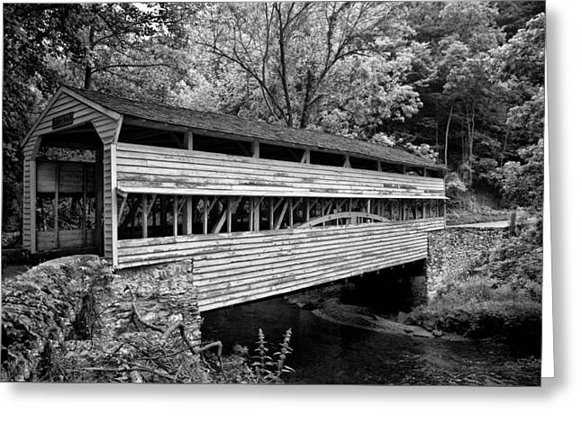 Valley Forge - Knox Covered Bridge - Black And White Greeting Card