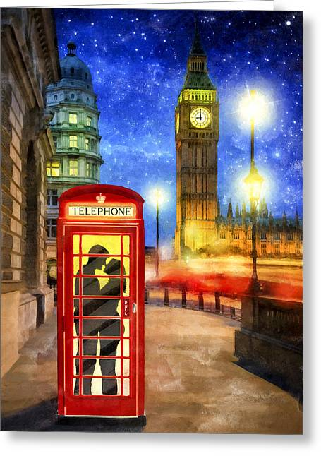 Romance In London By Starlight Greeting Card by Mark E Tisdale