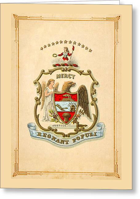 Arkansas Historical Coat Of Arms Circa 1876 Greeting Card