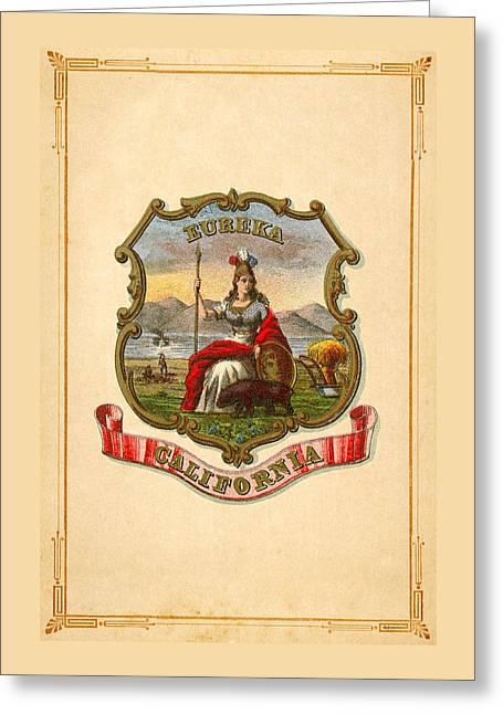 California Historical Coat Of Arms Circa 1876 Greeting Card by Serge Averbukh