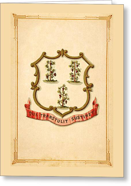 Connecticut Historical Coat Of Arms Circa 1876 Greeting Card by Serge Averbukh