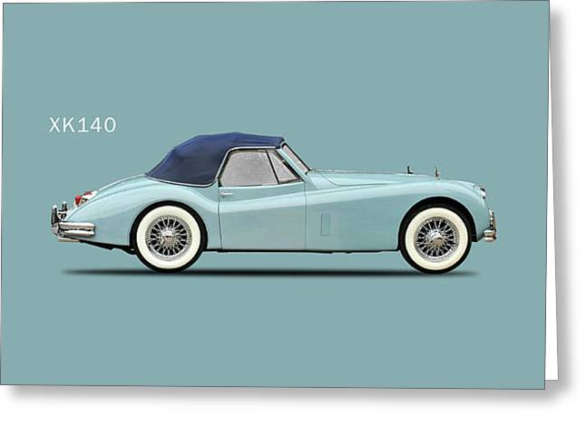 The Xk140 Greeting Card by Mark Rogan