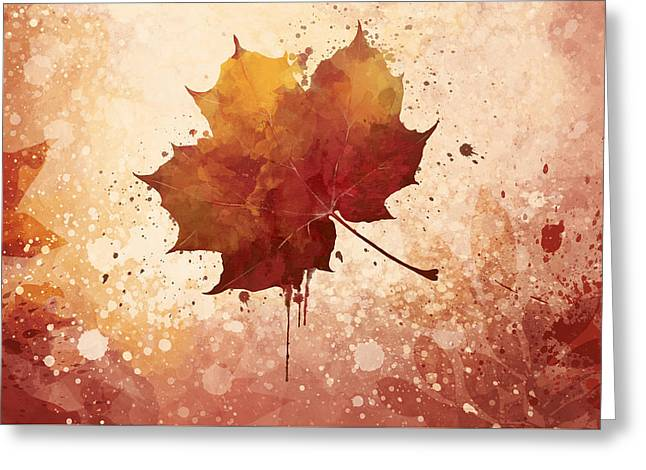 Red Autumn Leaf Greeting Card by Thubakabra