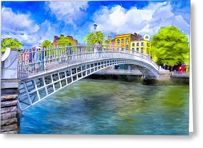 Greeting Card featuring the painting Spring On The Liffey - Historic Dublin by Mark E Tisdale