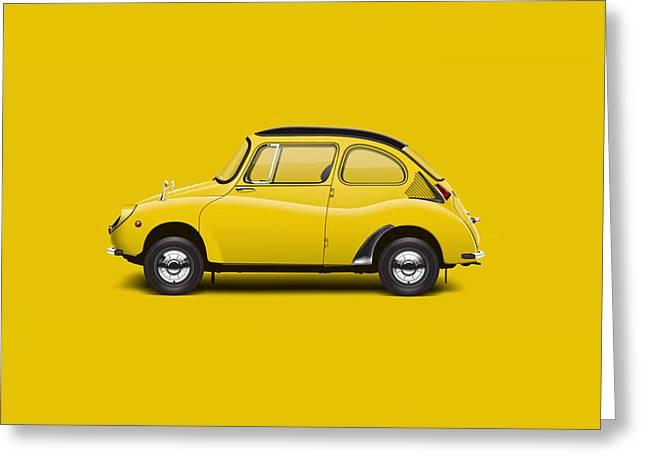 1969 Subaru 360 Young S - Yellow Greeting Card by Ed Jackson