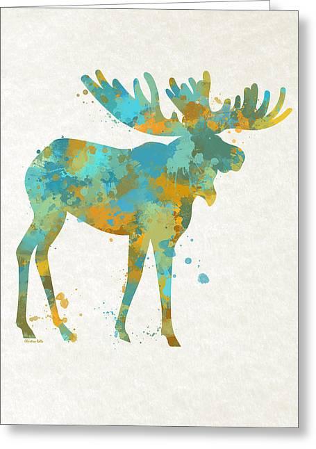Moose Watercolor Art Greeting Card