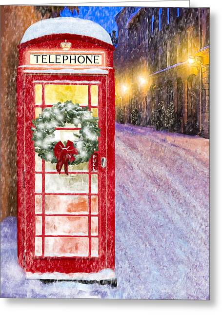 Greeting Card featuring the mixed media A Very British Christmas by Mark Tisdale