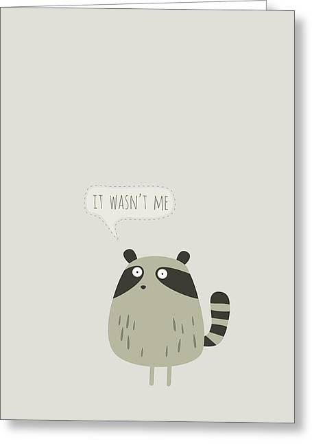 Raccoon With Ice Cream Greeting Card by Fuzzorama